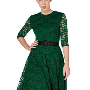 Cocktail Hour 1960's Style Dress in Emerald