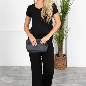 Casual Black Drawstring Jumpsuit