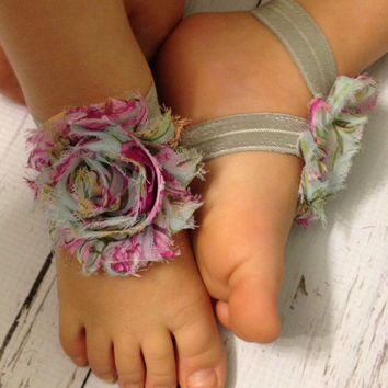 25% OFF all orders Baby Barefoot Sandals.. Floral Print Barefoot Sandals... Toddler Sandals