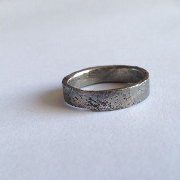 Oxidised Silver Ring - Distressed Organic Texture - Recycled Sterling Silver  - Black Silver Grey - Wedding Band - Men's Women's - Unisex