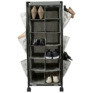 Raymond Waites Closet Organization Rolling Shoe Organizer (Grey)