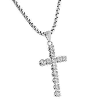 Solitaire Cross Pendant Silver Tone Simulated Diamonds Stainless Steel Necklace