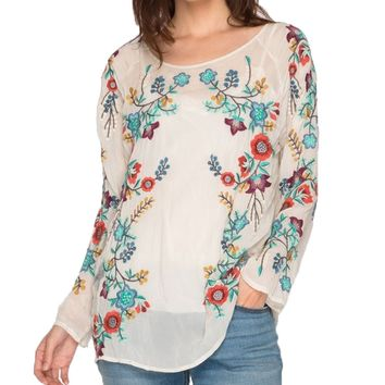 Johnny Was Kikimu Sheer Floral Embroidered Blouse Shell