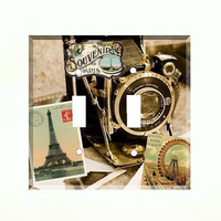 Double Light Switch Cover - Light Switch Plate Vintage Paris France Travel Camera
