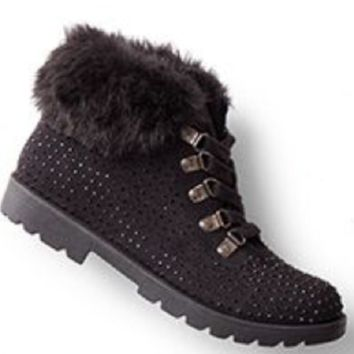 Justice Girl's Faux Fur Black Ankle Boots Size 13 NWT $44.90