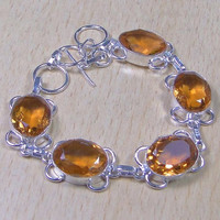 Beautiful Citrine + 925 Silver Overlay Bracelet 210mm x 15mm Citrine The Lucky Money Stone,Gifts under 10,20,30,Silver Bracelet.