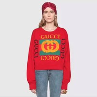 """Gucci"" Women Casual Fashion Letter Logo Dog Pattern Print Thickened Long Sleeve Pullover Sweater Tops"