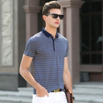 Summer Men Short Sleeve Stripes Casual Cotton T-shirts [6544773763]