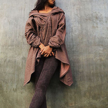 The look of love...Brown thick linen/cotton Autumn Jacket dress  (fits S-L)