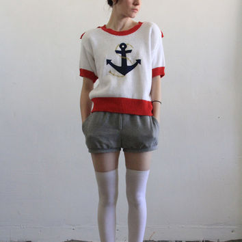 Vintage Sailor Sweater  Anchor  Epaulets  Knitted by VeraVague