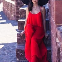 Red Backless Jumpsuit | SPREDFASHION