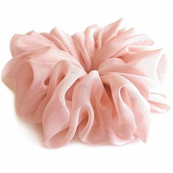 Pale Pink Champagne Large Chiffon Scrunchies Stylish Accessories Hair Band Ponytail Holder Teen Girls Women