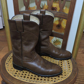 Brown Justin boots size 8 / US womens 8 / vintage Justin boots / brown cowboy boots / SunnyBohoVintage