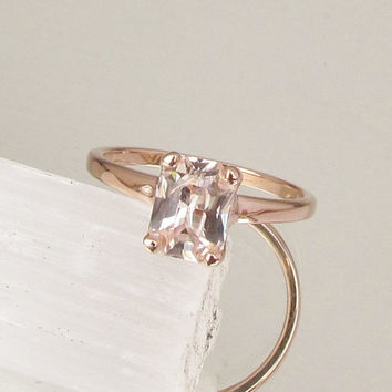 Shop peach champagne sapphire engagement ring on wanelo peach champagne sapphire engagement ring radiant cut 167ct in 14k rose gold solitaire ring weddings junglespirit Images