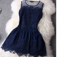 2015 Big Stitching Lace Sleeveless Vestidos Evening Mini Sexy Women Summer Dress = 1955663172