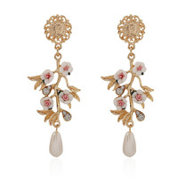 Hot Sale Accessory Leaf Floral Pearls Earrings [8026217543]