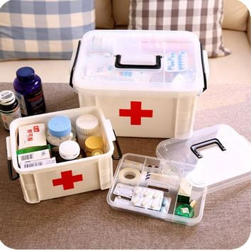 Urijk Family Home Portable Medicine Chest Cabinet Health Care Plastic Drug First Aid Kit Box Storage Box Chest of Drawers