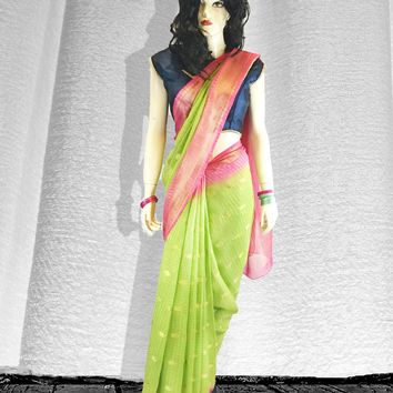 the two-tone Tissue net saree in coral pink and lime