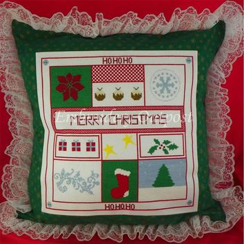 Merry Christmas Decorative Pillow - Cross Stitch Embroidery - Handmade