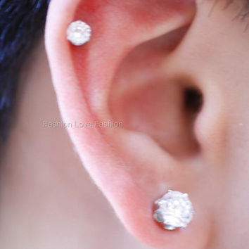 Clear Round CZ, Cubic Zirconia Magnetic Earrings Clip On Ear Cuff Stud Non-Pierced Ears 4 mm (Smallest) to 10 mm (Largest) For Mens/Womens