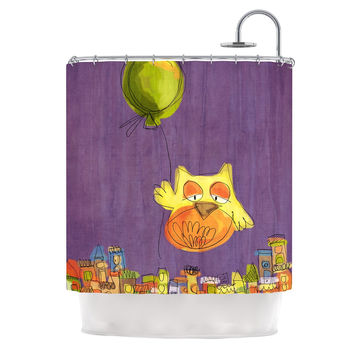 "Carina Povarchik ""Owl Balloon"" Purple Orange Shower Curtain"