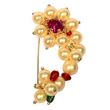 Love Gold Big Girls' Gold-plated Pearls Cream Yellow Nath Clip on Type Medium Size Maharashtrian Nose Ring