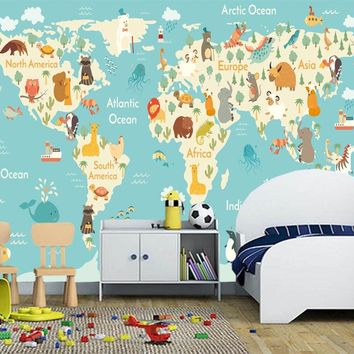Custom children wallpaper, cartoon world map murals for the living room children's room wall wallpaper PVC