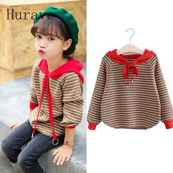 Girls Sweater New Autumn Long Sleeved Cotton Striped Hooded Sweater For Children Knitted Sweater