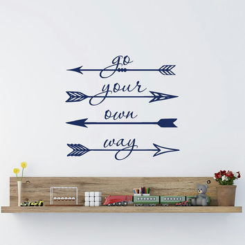 Go Your Own Way Arrow Wall Decal Vinyl Lettering Motivational Quotes Bedroom Nursery Children Kids Living Room Wall Art Home Decor Q174