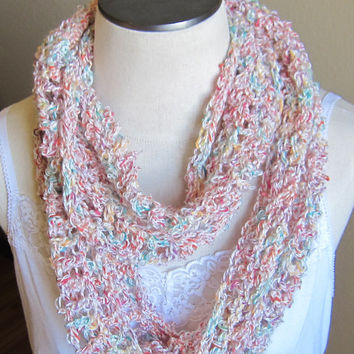 Crochet Cowl/ Hooded Scarf/ Infinity Scarf made with a Mixed Fiber Yarn made in Turkey White with Mixed Color