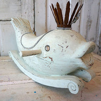 Large dolphin wood statue painted distressed sea washed blue shabby beach cottage aquatic fish child's rocker home decor anita spero design
