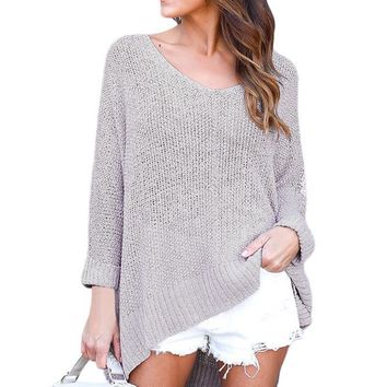Gray Oversized Knit High-low Slit Side Sweater