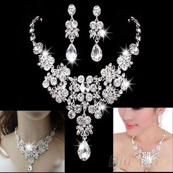 Women's Fashion Korean Style Wedding Earrings W/ Adjustable Pendant Necklace Set = 1929930308