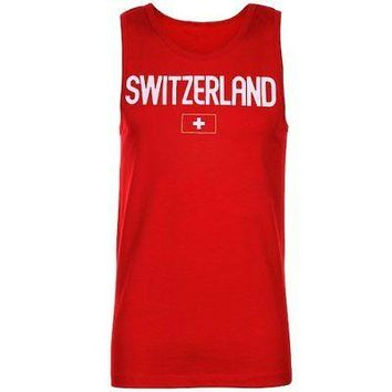 Licensed Sports Switzerland Country Flag Tank Top - Red KO_20_2