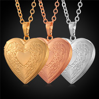 U7 Valentines Day Gift Love Heart Necklace Women Gold/Platinum Plated Memory Photo Locket Necklaces & Pendants P570