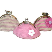 Crochet coin purse  / Pink coin purse  / Pink Crochet Coin purse / Pink Crochet accessories
