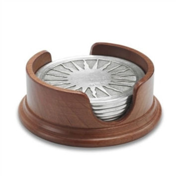 Match Pewter |  Sun Coasters in Wood Base-Set of 6