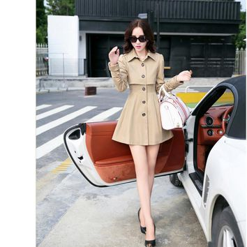 Long-Sleeved Dress Trench Coat Jacket