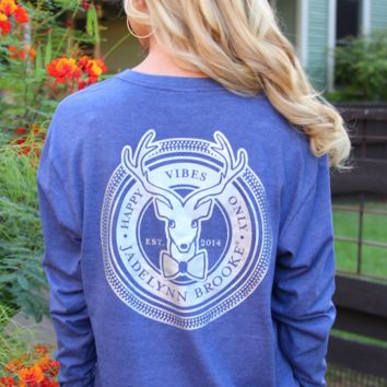 Jadelynn Brooke: Iridescent Happy Logo L/S {H. Navy}