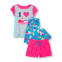 Girls Short Sleeve 'I Love Sundae's' Graphic Top, Ice Cream Printed Pants And Solid Shorts PJ Set 3-Pack | The Children's Place