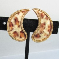 1960's Vintage MOD Signed B.S.K. Faux Leopard FUR Comma Earrings
