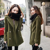 Double Breasted Lapel Solid Long Thick Coat