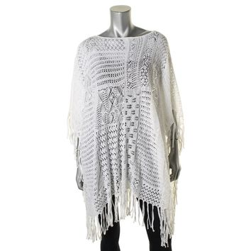 Lauren Ralph Lauren Womens Linen Blend Crochet Poncho Top