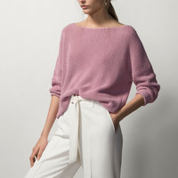 Plain Long-Sleeve Knitted Pullover Shirt