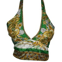 Boho Hippie Sexy Crop Top Upcycled Silk Printed Tie Back Halter Blouse Tops OS