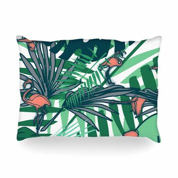 "bruxamagica ""Tropical Leaves Flamingo White"" White Green Animals Floral Digital Mixed Media Oblong Pillow"