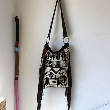 Kilim carpet leather bag with horse and cowboys southwestern tribal navajo 70's boho bohemian tote bag fringes blanket festival bag festival
