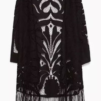 Black Lace Panel Long Sleeve Fringed Kimono