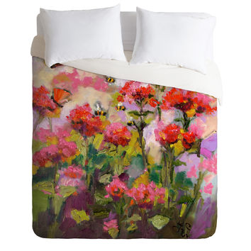 Ginette Fine Art Bee Balm And Bees Duvet Cover