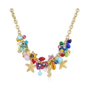 Antica Murrina Designer Necklaces Marilena - Murano Glass Marine Gold Plated Necklace